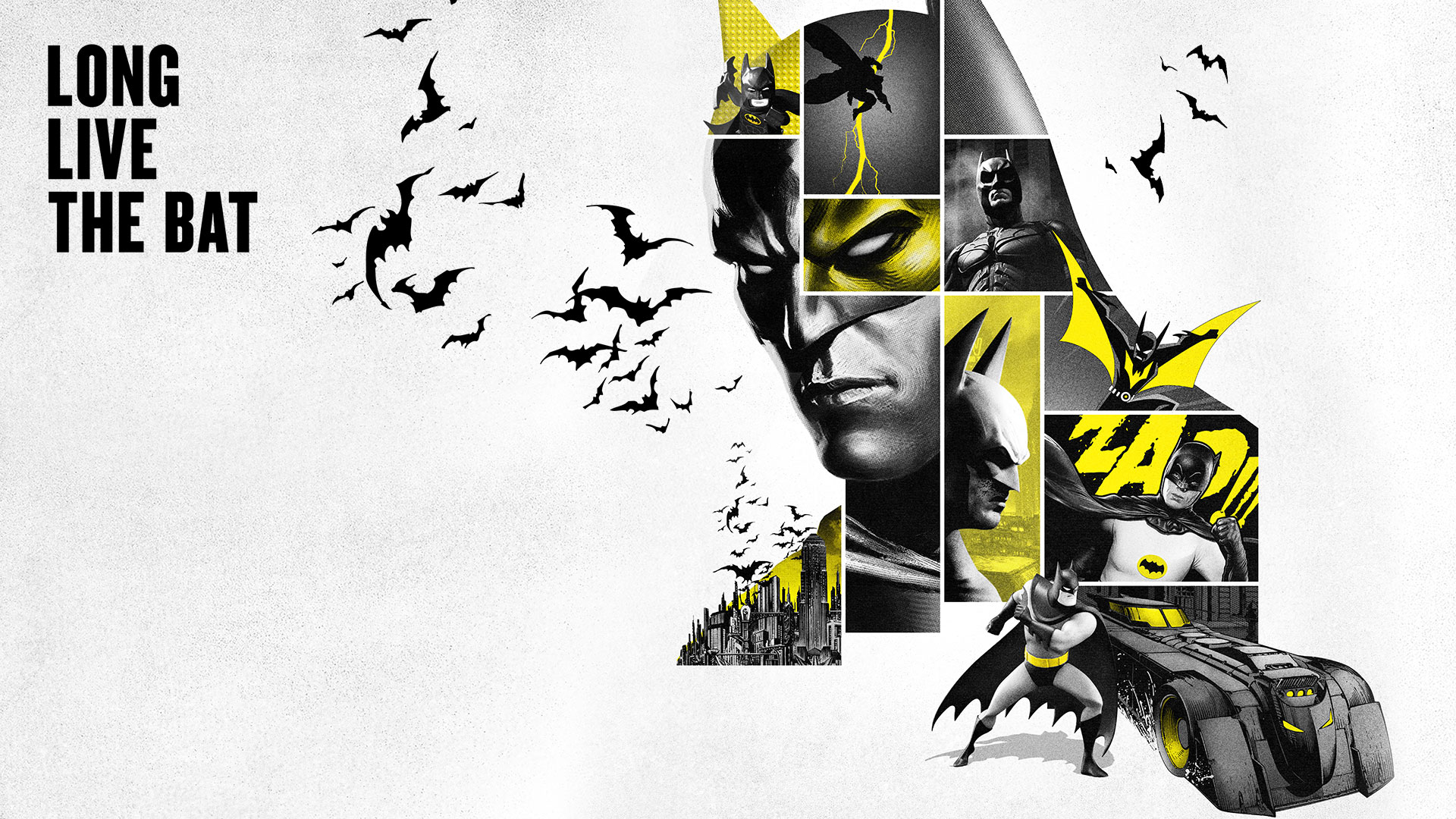 Various images of Batman with the words Long Live