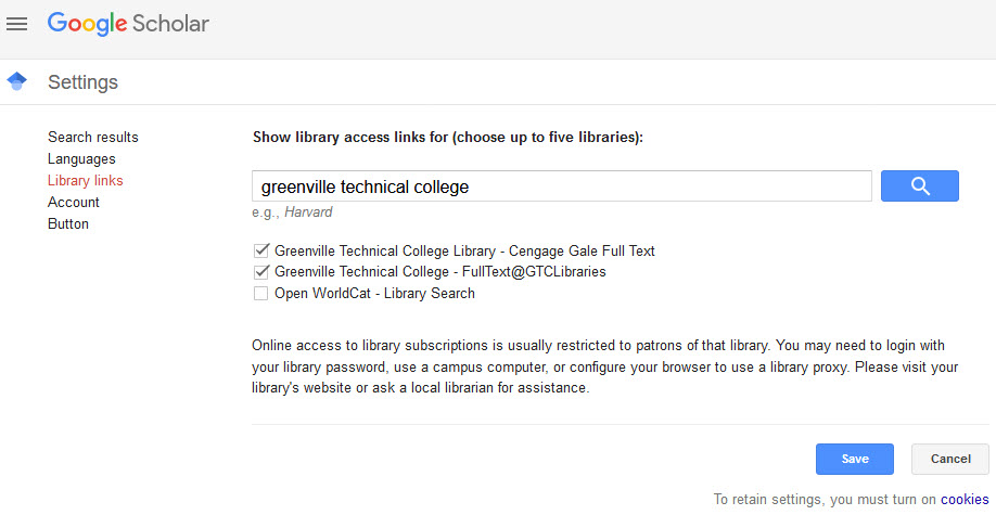 Google Scholar screen shot showing Greenville Technical College Library - Cengage Gale Full Text, and Greenville Technical College - FullText@GTCLibraries selected.