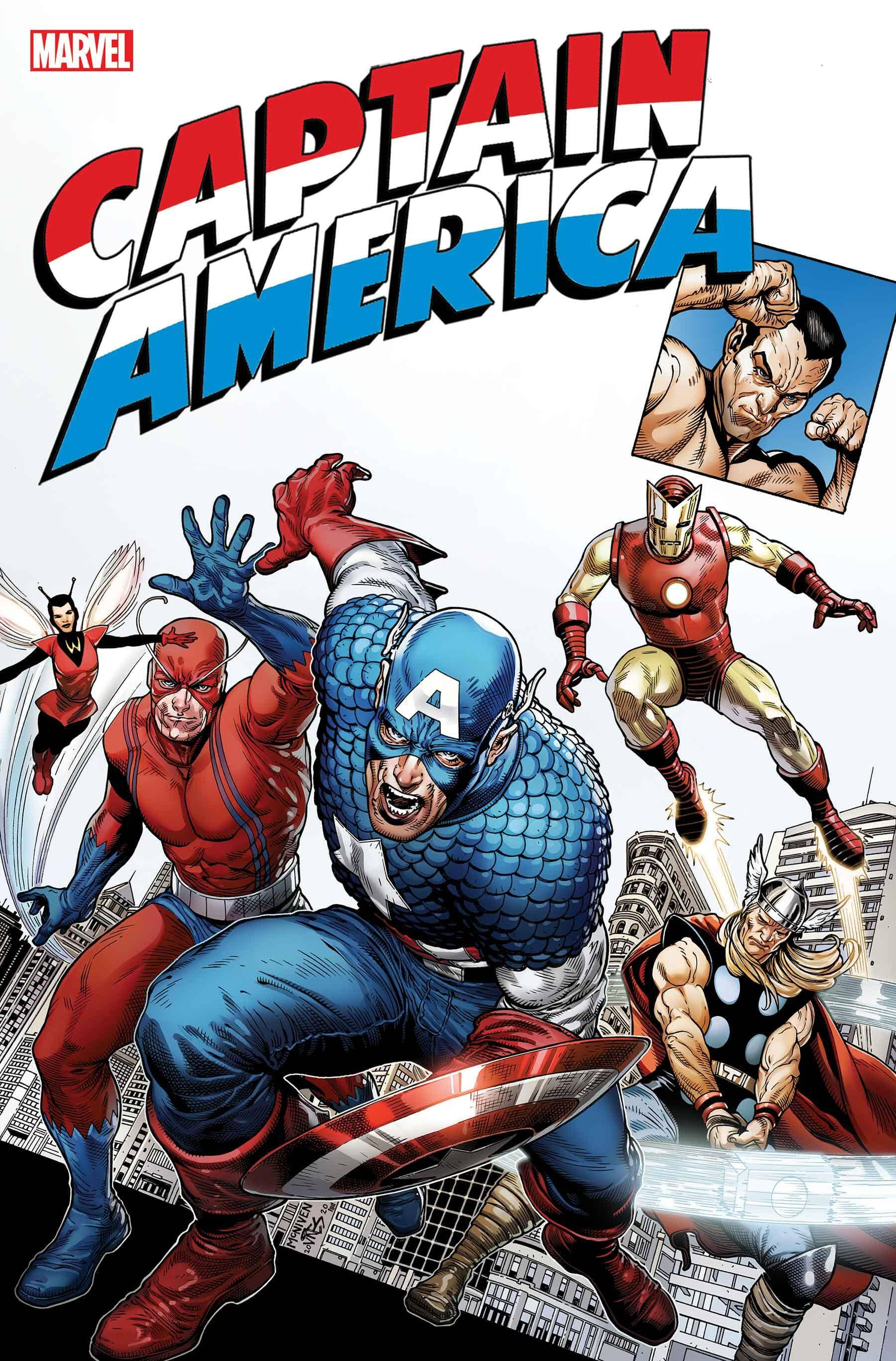 Captain America races toward the viewer, holding his red, white, and blue shield, with Thor and other superheroes behind him