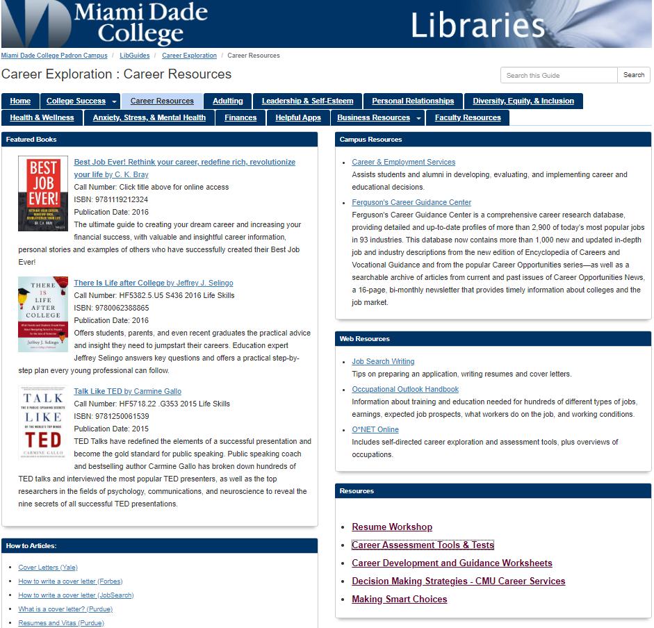 Career Resources LibGuide Page