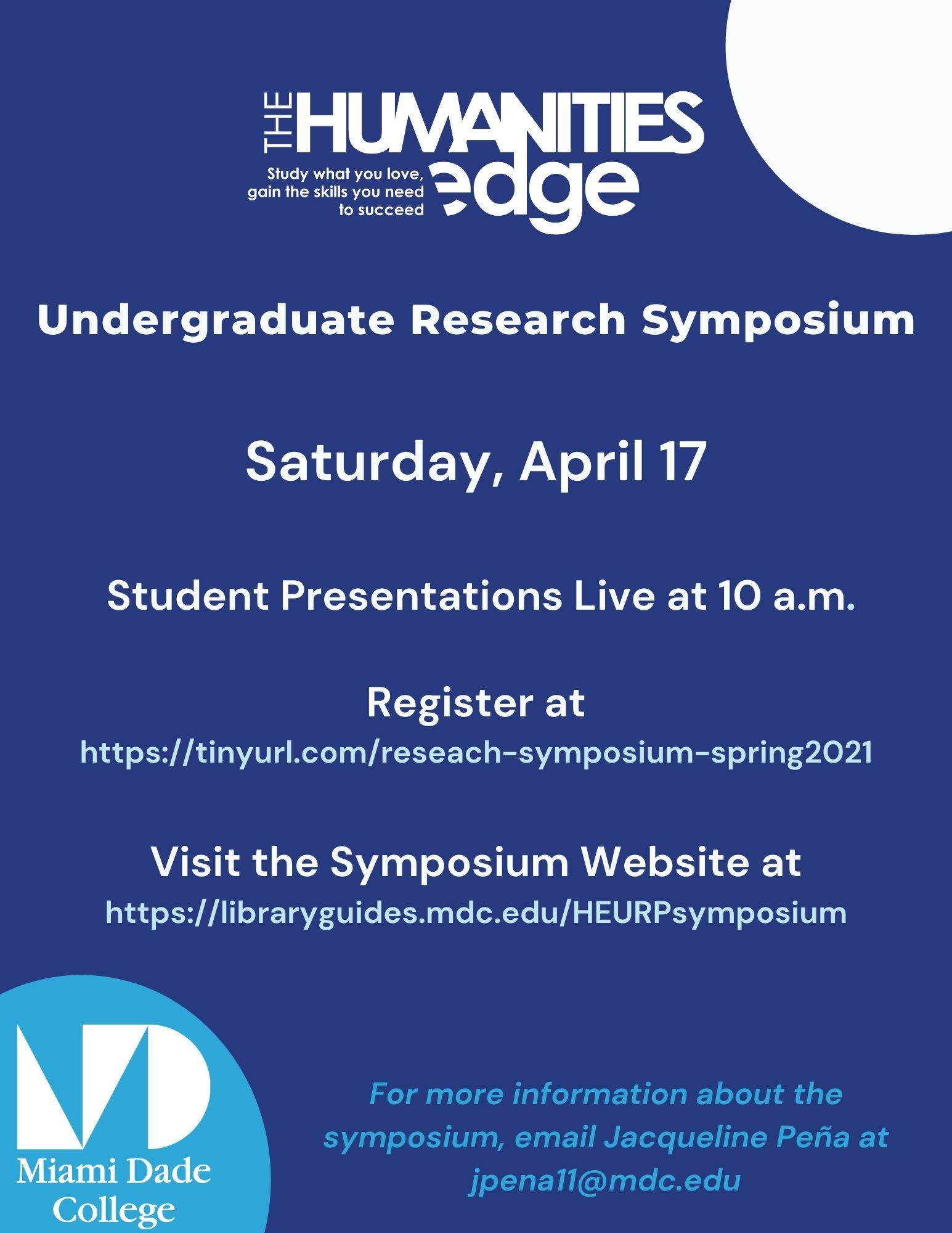 Humanities Edge Undergraduate Research Symposium -Saturday, April 17 2021 at 10:00 am