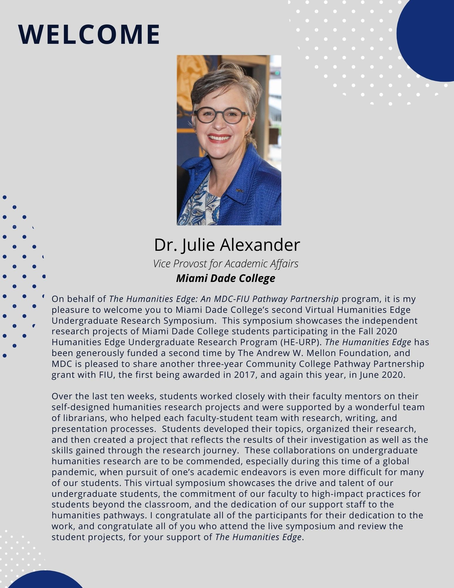 Welcome message from Dr. Julie Alexander, Vice Provost for Academic Affairs