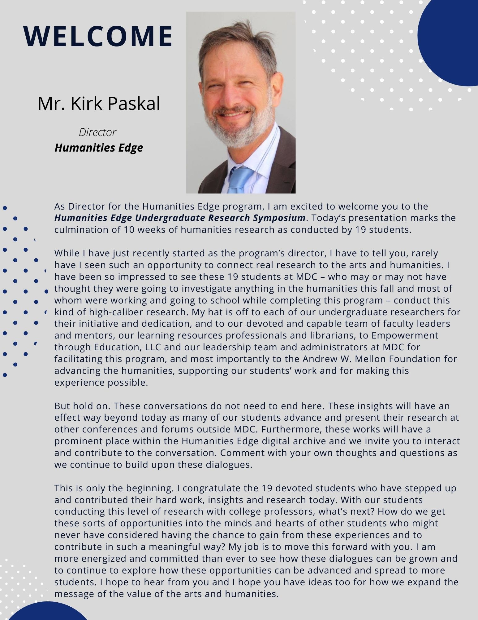Welcome message from Kirk Paskal, Humanities Edge Director