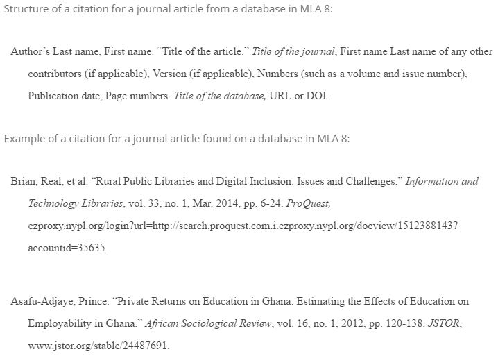 MLA Style online database citation structure and example