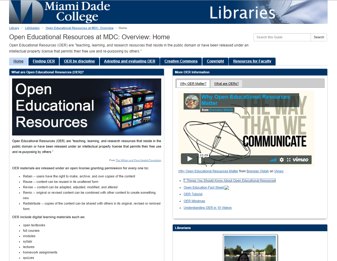 Open Educational Resources at MDC LibGuide