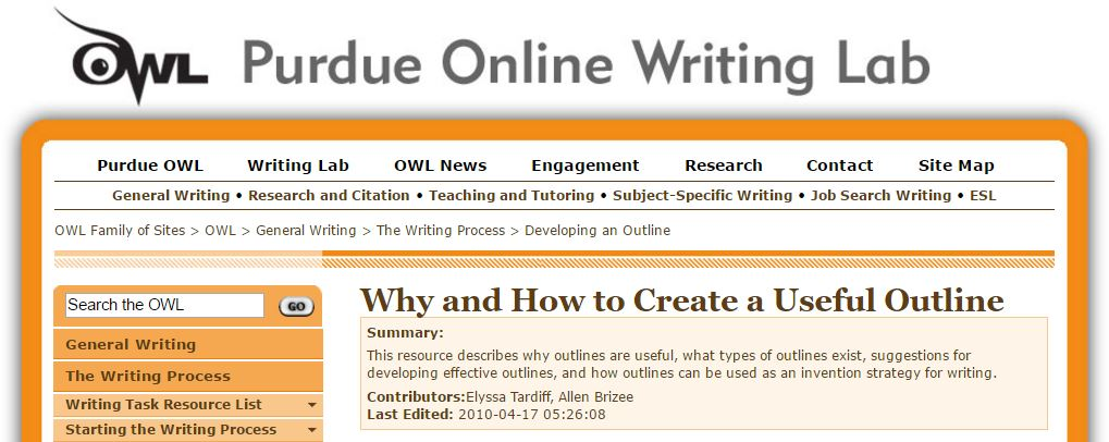 Purdue Online Writing Lab: Why and How to Create a Useful Outline