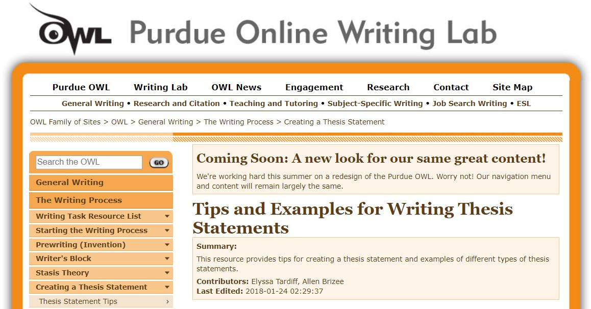 Purdue OWL: Writing a Thesis Statement