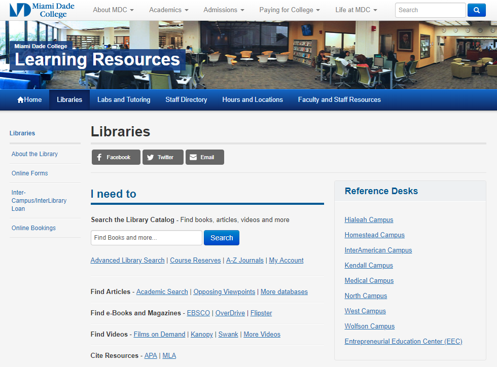 MDC Learning Resources Library Page