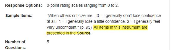"""Part of a search result record featuring the Sample Items field; the words """"all items in this instrument are presented in the Source"""" are highlighted."""