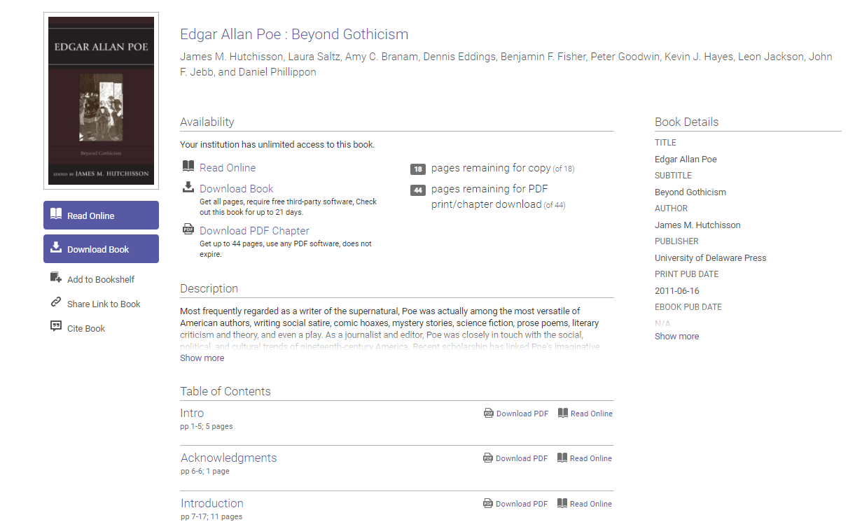 ProQuest EBook Central record for Edgar Allan Poe: Beyond Gothicism.