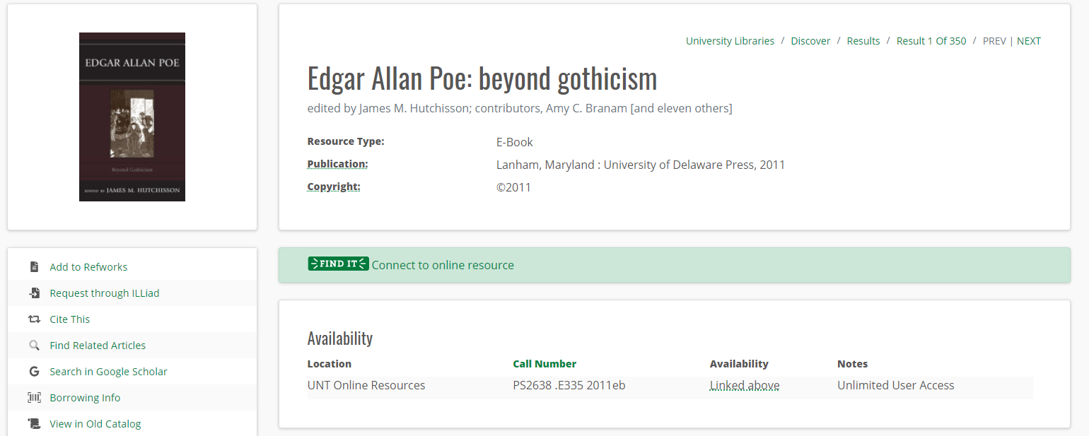 """Image of record for """"Edgar Allen Poe: beyond gothicism."""""""