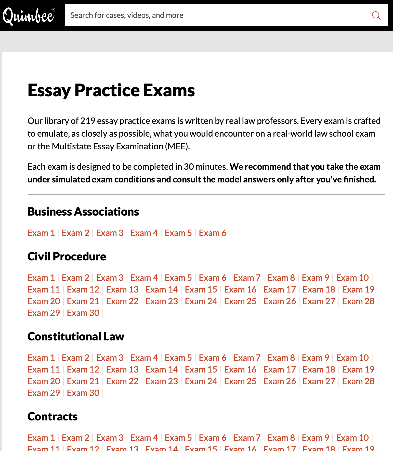 Screenshot: Quimbee Essay Practice Exams