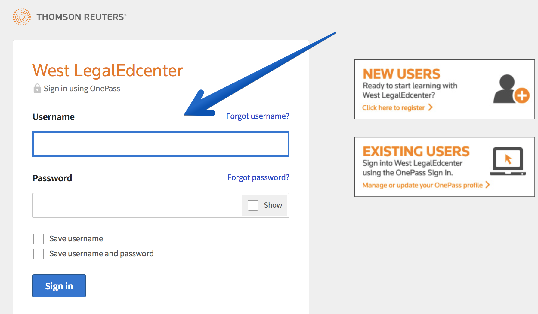 West LegalEdcenter Screenshot -- Login Screen