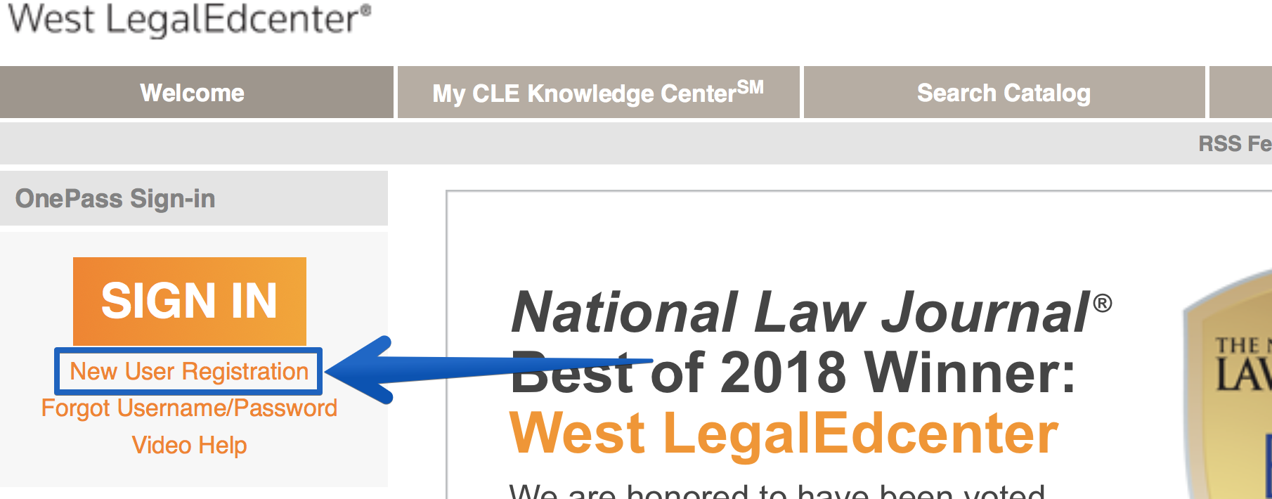 WestLegalEdcenter screenshot -- Click 'New User Registration'