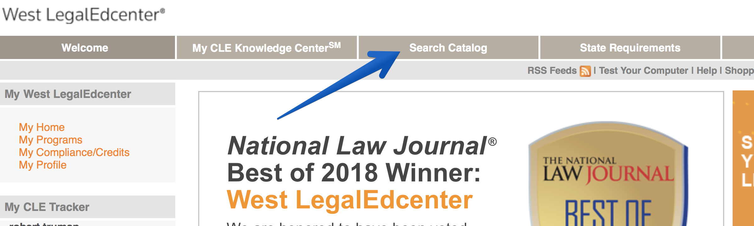 WestLegalEdcenter screenshot -- Click the 'Search Catalog' tab
