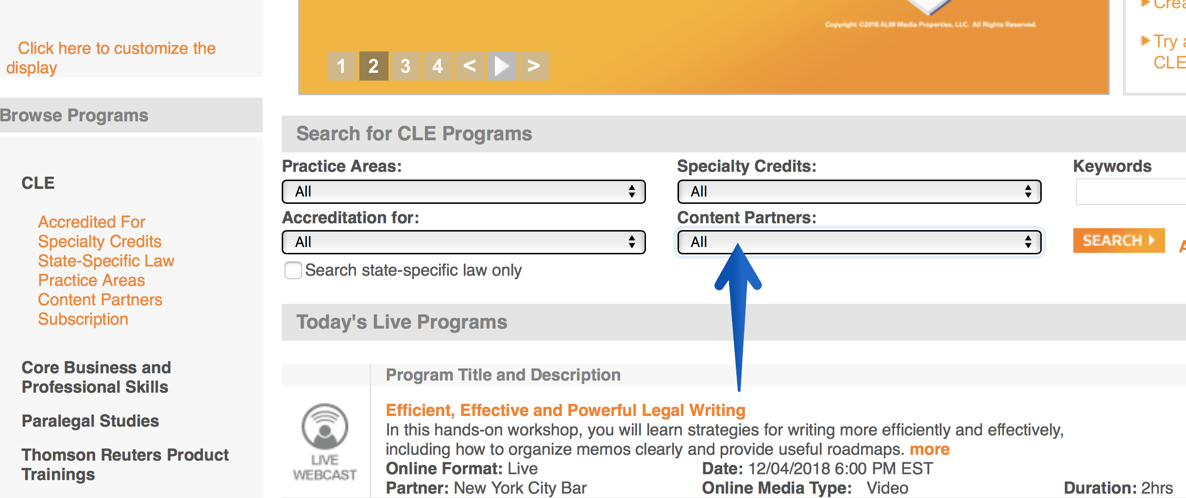 West LegalEdcenter screenshot -- Click 'Content Partners' drop-down menus