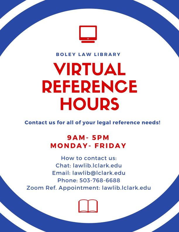 Sign: Boley Law Library Virtual Reference Hours