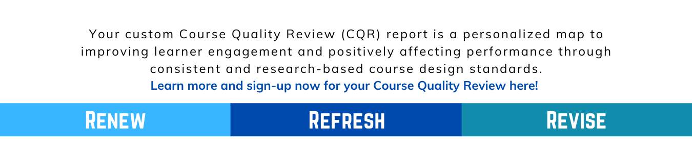 Course Quality Review information