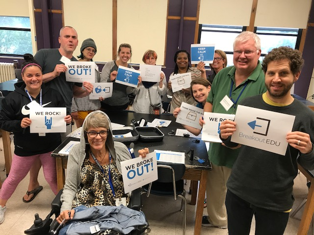 7th grade staff breaking out with BreakoutEDU