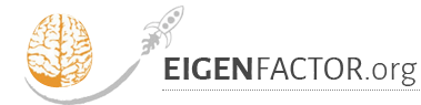 eigenfactor.org logo golend outline of a brain with a spaceship flying around it
