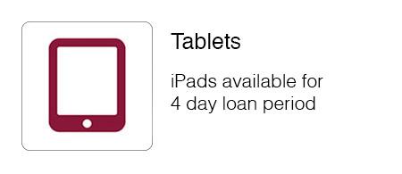 iPads available for 4 day loan period.