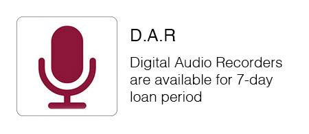 Digital Audio Recorders  are available for seven day loan period