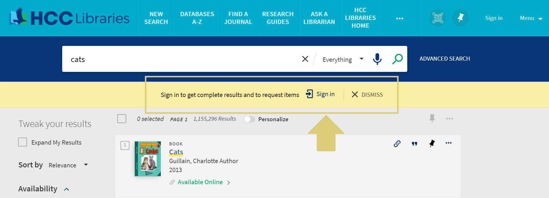 Screen capture of the HCC library catalog with a yellow box around the sign in link, as well as a yellow arrow pointing to the sign in link