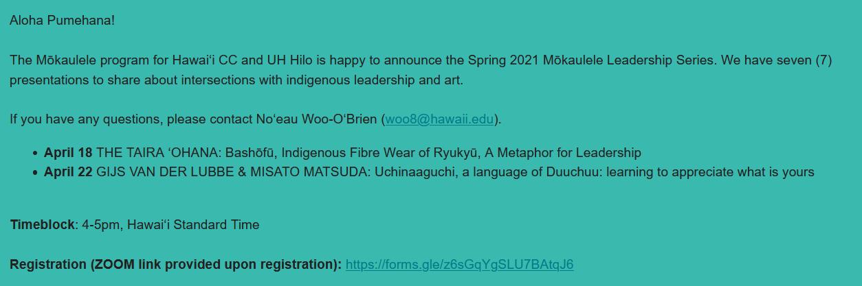 22 April 2021 Event Information
