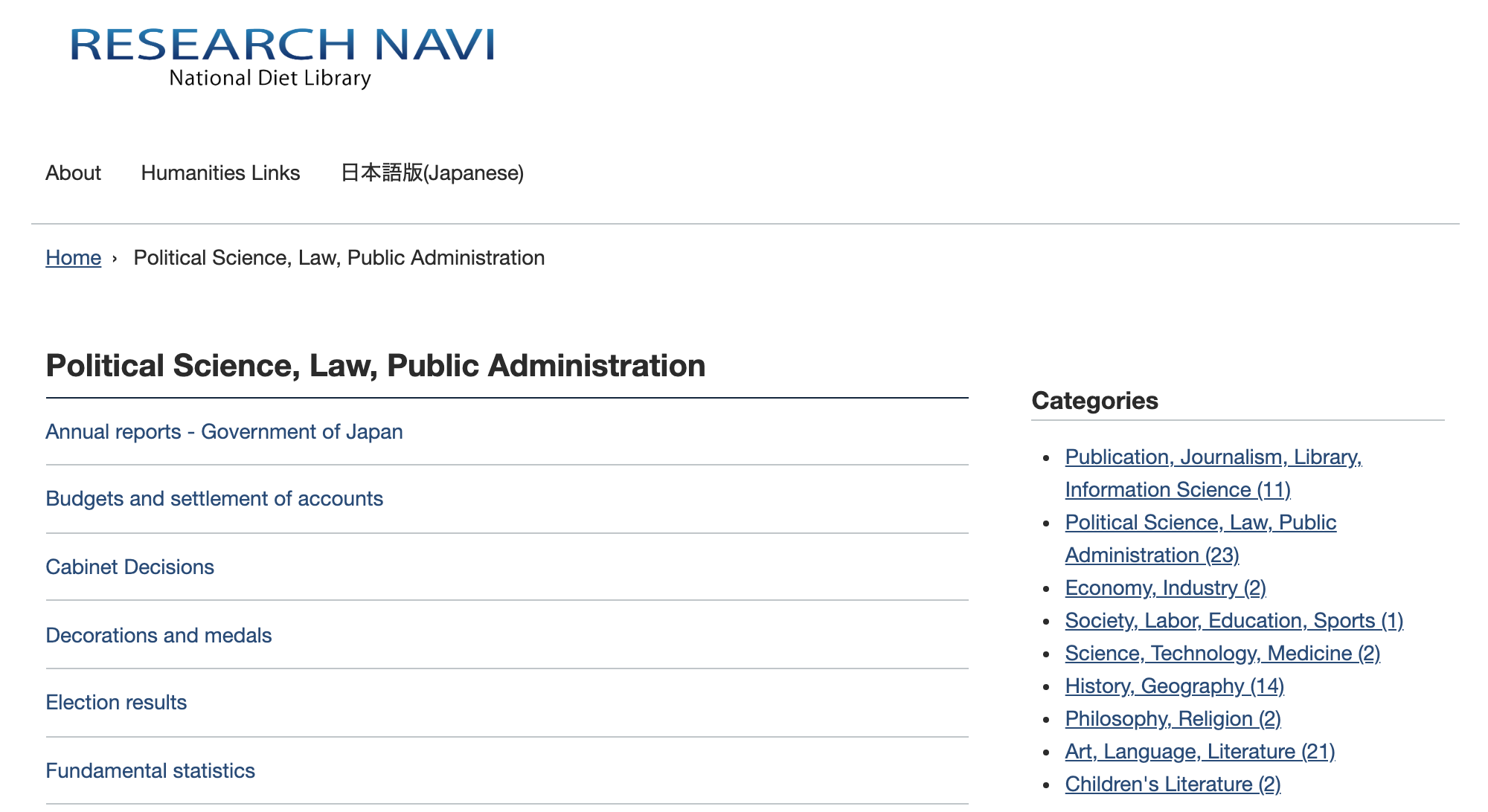 National Diet Library's English Version of Research Navi