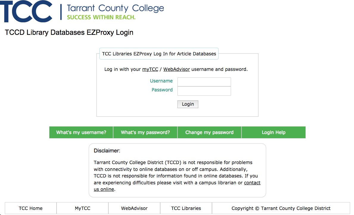 Tarrant County College EZProxy Databases Login Screen
