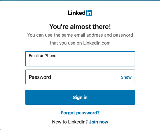 LinkedIn Sign On Screen 1