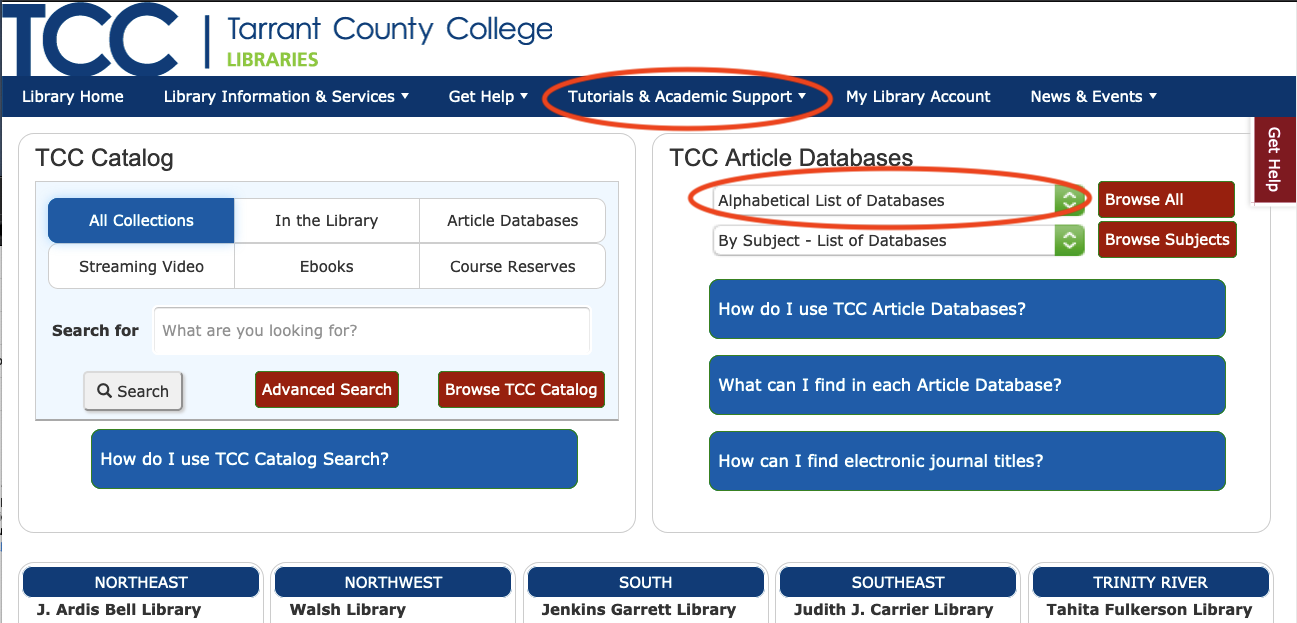 TCC Libraries Home Page