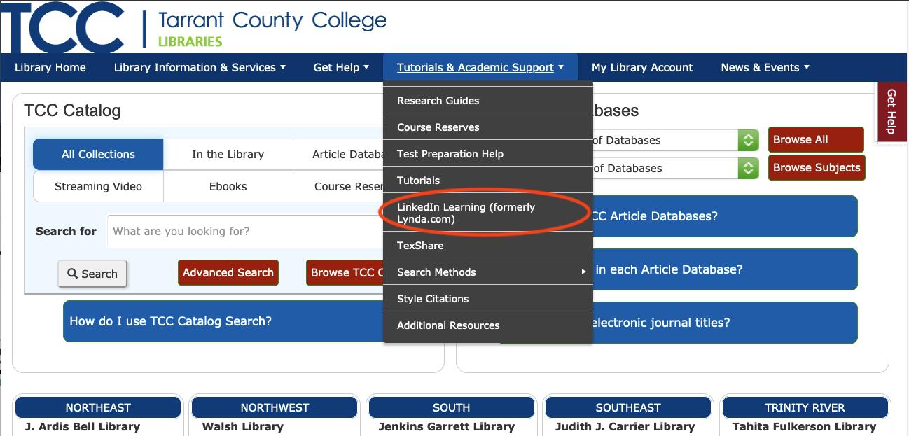 TCC Libraries Tutorials & Academic Support Menu
