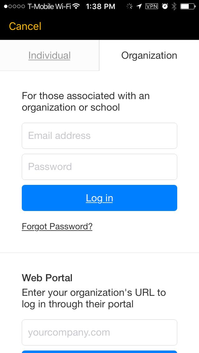 Tap the Organization tab.