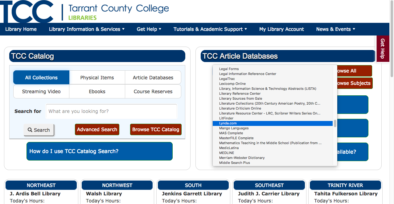 TCC Library Alphabetical List of Databases Menu