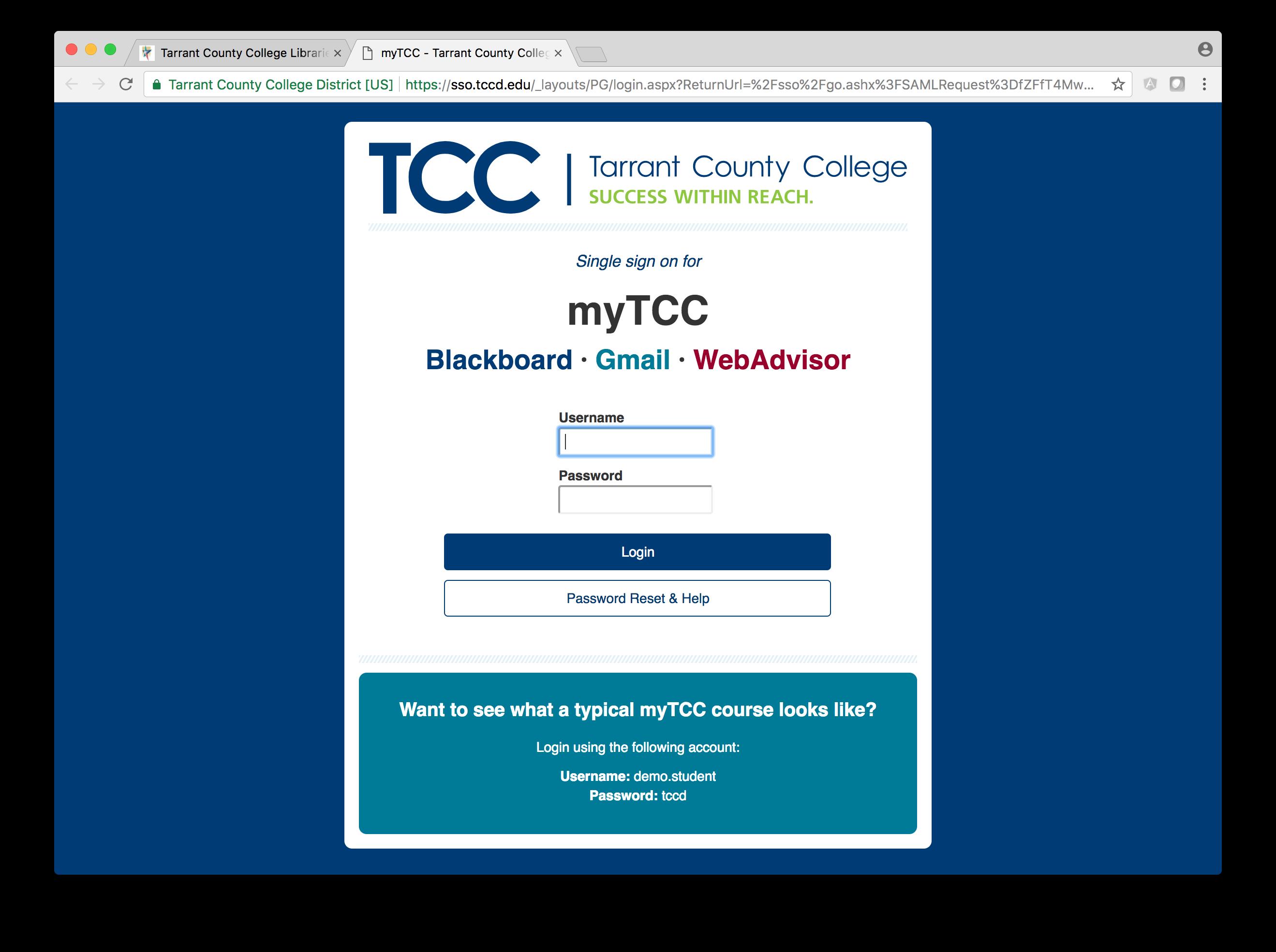 TCC Single Sign On Screen