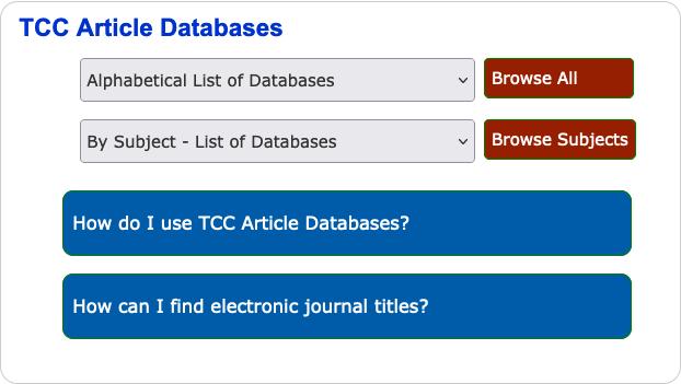 Screen shot of TCC Article Databases Drop Down Lists