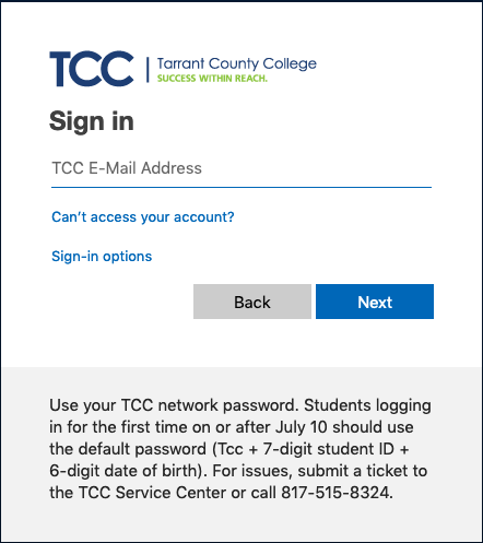 TCC Single Sign On Screen