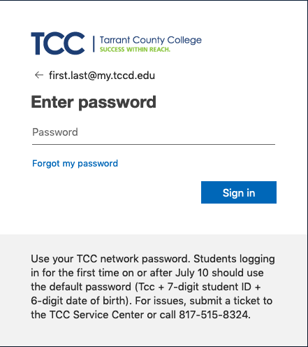 TCC Single Sign On Screen 2