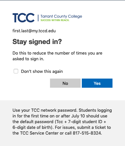 TCC Single Sign On Screen 3