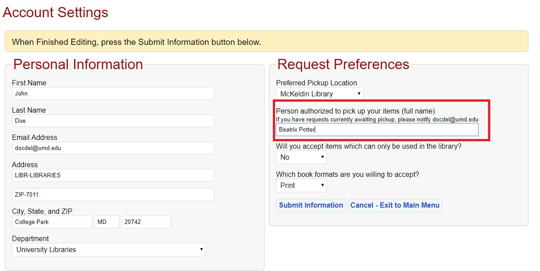 Proxy pickup field in account settings