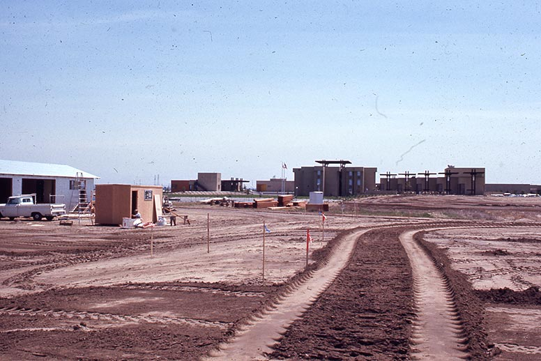 Ground view of campus construction