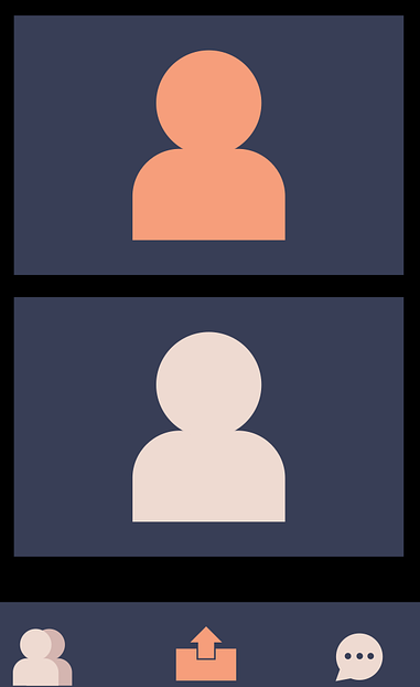 illustrated icon of a video call between 2 people