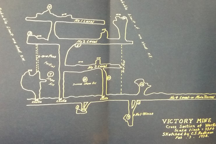 Cross section of underground workings, Victory Mine