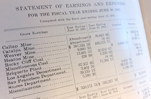 Statement of earnings page from a mining company report