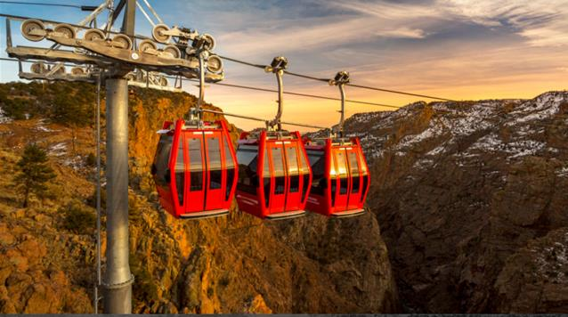 Three red gondolas, Royal Gorge