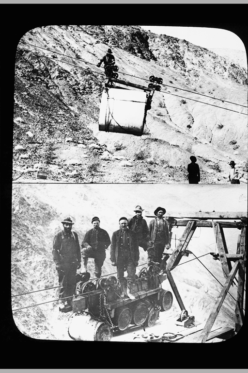 bucket; and men on an aerial tramway