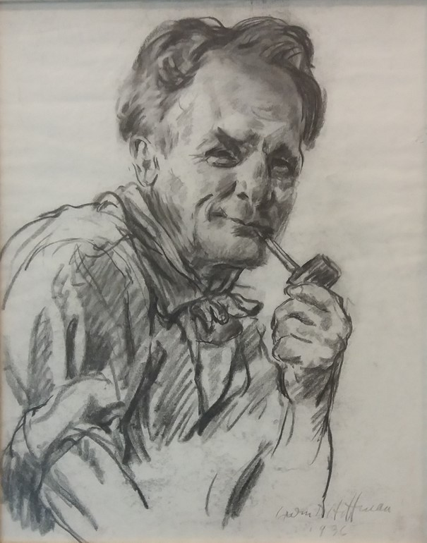 Sketch portrait of Robert Hoffman with pipe