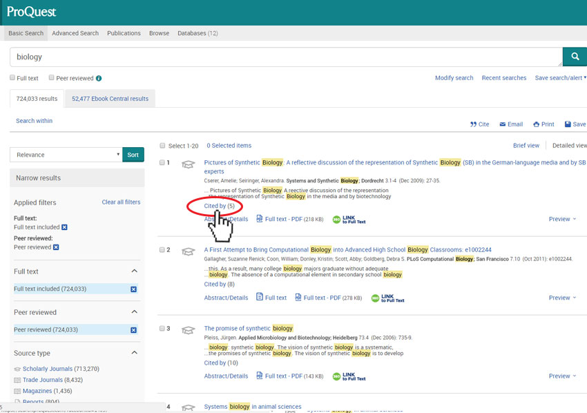 Image of Proquest Results Page for keyword