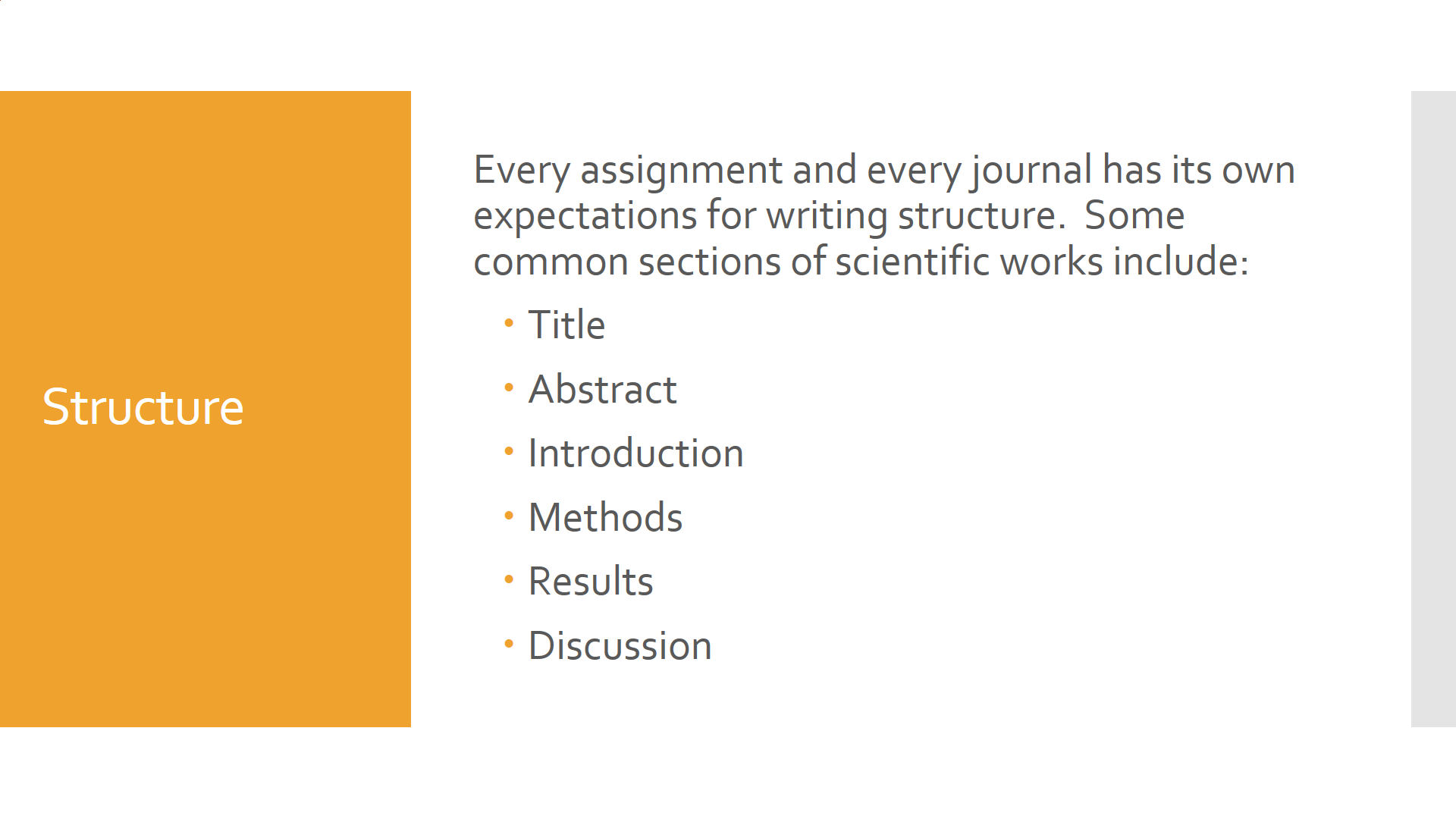 Outline of the structure of a scientific paper